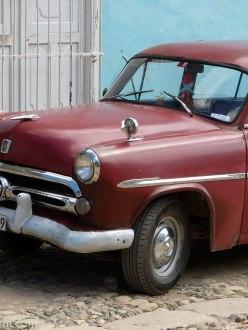 Red Vintage car Trinidad Cuba